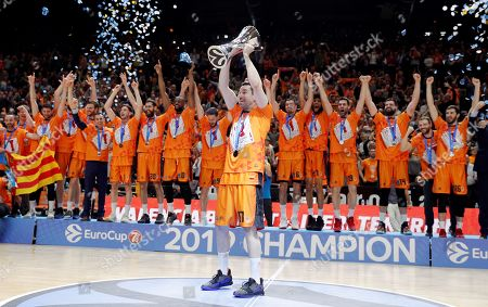 Stock Picture of Valencia's captain Rafa Martinez (front) and teammates celebrate after wining the Eurocup basketball final match against Alba Berlin at the Fuente de San Luis facilities in Valencia, eastern Spain, 15 April 2019.