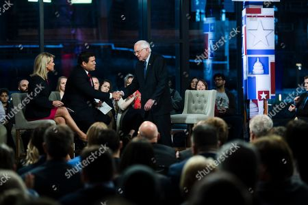 Sen. Bernie Sanders, I-Vt., takes part in a Fox News town-hall style event with Bret Baier and Martha MacCallum, in Bethlehem, Pa