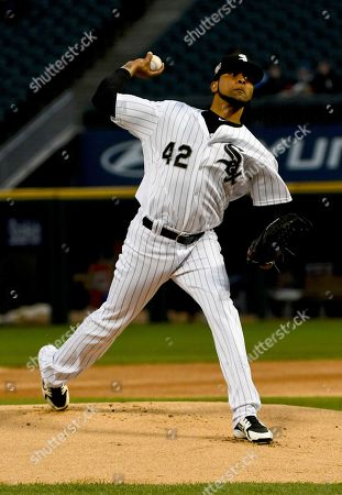 Stock Photo of Chicago White Sox starting pitcher Ervin Santana delivers during the first inning of a baseball game against the Kansas City Royals, in Chicago