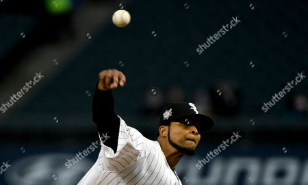 Chicago White Sox starting pitcher Ervin Santana delivers during the first inning of a baseball game against the Kansas City Royals, in Chicago