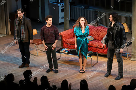 "David Furr, Brandon Uranowitz, Keri Russell, Adam Driver. David Furr, from left, Brandon Uranowitz, Keri Russell and Adam Driver appear at the curtain call for the Broadway opening night of Lanford Wilson's ""Burn This"" at the Hudson Theatre, in New York"