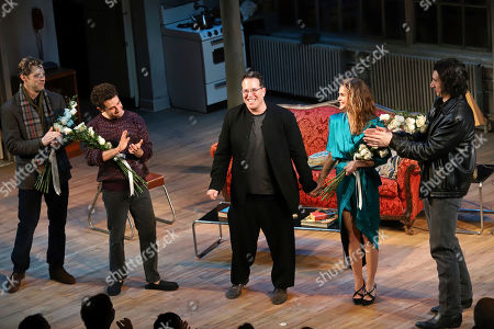 """David Furr, Brandon Uranowitz, Michael Mayer, Keri Russell, Adam Driver. David Furr, from left, Brandon Uranowitz, Director Michael Mayer, Keri Russell and Adam Driver appear at the curtain call for the Broadway opening night of Lanford Wilson's """"Burn This"""" at the Hudson Theatre, in New York"""