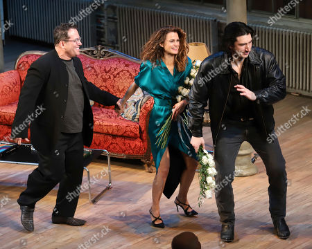 """Michael Mayer, Keri Russell, Adam Driver. Director Michael Mayer, from left, Keri Russell and Adam Driver appear at the curtain call for the Broadway opening night of Lanford Wilson's """"Burn This"""" at the Hudson Theatre, in New York"""