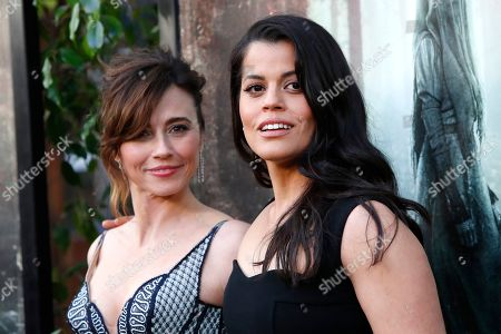 Linda Cardellini (L) and Marisol Ramirez (R) arrive for the premiere of Warner Bros' 'The Curse Of La Llorona' at the Egyptian Theatre in Hollywood, Los Angeles, California, USA, 15 April 2019. The movie will be released in the US on 19 April.