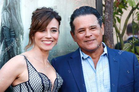 Linda Cardellini (L) and US actor/cast member Raymond Cruz (R) arrive for the premiere of Warner Bros' 'The Curse Of La Llorona' at the Egyptian Theatre in Hollywood, Los Angeles, California, USA, 15 April 2019. The movie will be released in the US on 19 April.