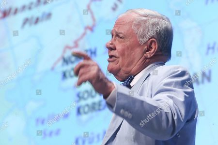 Jim Rogers, chairman of Rogers Holdings, speaks during an economic forum in Seoul, South Korea, 16 April 2019.