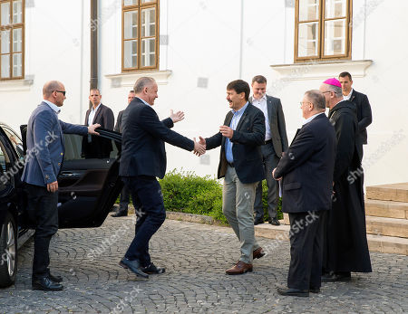 Slovakian President Andrej Kiska (C-L) is greeted by his Hungarian counterpart Janos Ader as he arrives for a farewell visit at the Benedictine Archabbey of Pannonhalma, 120 kms west of Budapest, Hungary, 16 April 2019. The mandate of President Kiska expires in next June.