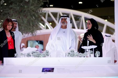 Sheikh Nahyan bin Mubarak Al Nahyan (C), Minister of State for Tolerance visits the Cityscape 2019 Abu Dhabi exhibition, in Abu Dhabi, United Arab Emirates, 16 April 2019. The real estate event, an annual networking exhibition and conference focusing on all aspects of the property development cycle, runs from 16 to 18 April 2019.