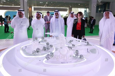 Sheikh Nahyan bin Mubarak Al Nahyan (3-L), Minister of State for Tolerance visits the Cityscape 2019 Abu Dhabi exhibition, in Abu Dhabi, United Arab Emirates, 16 April 2019. The real estate event, an annual networking exhibition and conference focusing on all aspects of the property development cycle, runs from 16 to 18 April 2019.