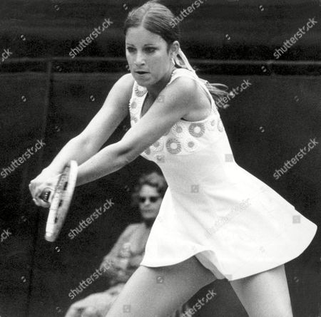Chris Evert American Tennis Player In Action Against Rosemary Casals At Wimbledon July 1977 . Rexmailpix.