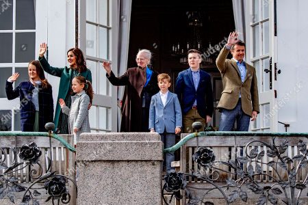 Stock Picture of Princess Isabella, Crown Princess Mary, Princess Josephine, Queen Margrethe II, Prince Christian, Prince Vincent and Crown Prince Frederik