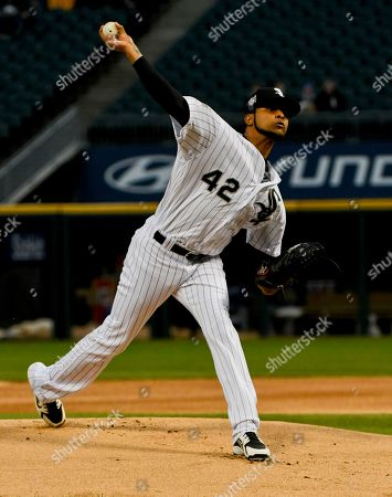 Stock Picture of Chicago White Sox starting pitcher Ervin Santana delivers during the first inning of a baseball game against the Kansas City Royals, in Chicago