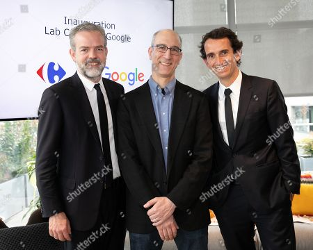 Sebastien Misoffe President of Google France, Jon Orwant Research and Development DG and Alexandre Bompard, CEO of Carrefour. Inauguration of the Carrefour-Google Lab. Carrefour inaugurates its laboratory dedicated to innovation, a 2,500 m² space located on the 5th floor of a WeWork building.