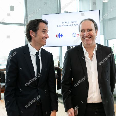 Alexandre Bompard, CEO of Carrefour and Xavier Niel President of Iliad. Inauguration of the Carrefour-Google Lab. Carrefour inaugurates its laboratory dedicated to innovation, a 2,500 m² space located on the 5th floor of a WeWork building.