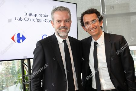 Alexandre Bompard, CEO of Carrefour and Sebastien Misoffe President of Google France. Inauguration of the Carrefour-Google Lab. Carrefour inaugurates its laboratory dedicated to innovation, a 2,500 m² space located on the 5th floor of a WeWork building.