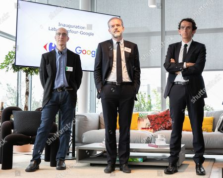 Stock Image of Sebastien Misoffe President of Google France, Jon Orwant Research and Development DG and Alexandre Bompard, CEO of Carrefour. Inauguration of the Carrefour-Google Lab. Carrefour inaugurates its laboratory dedicated to innovation, a 2,500 m² space located on the 5th floor of a WeWork building.