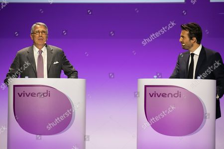 Yannick Bollore Chairman of the board Vivendi and Arnaud de Puyfontaine CEO Vivendi during the general meeting of shareholders