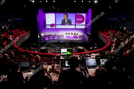 Stock Photo of Yannick Bollore Chairman of the board Vivendi, Arnaud de Puyfontaine CEO Vivendi during the general meeting of shareholders