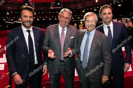 Stock Picture of Yannick Bollore Chairman of the board Vivendi, Arnaud de Puyfontaine CEO Vivendi, Vincent Bollore President and Cyrille Bollore who succeeds his father at the head of the Bollore group. during the general meeting of shareholders