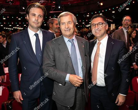 Yannick Bollore Chairman of the board Vivendi, Arnaud de Puyfontaine CEO Vivendi, Vincent Bollore President and Cyrille Bollore who succeeds his father at the head of the Bollore group. during the general meeting of shareholders