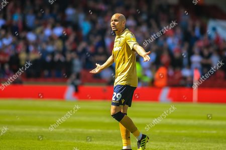 19th April 2019, Bramall Lane, Sheffield, England; Sky Bet Championship, Sheffield United vs Nottingham Forest ;  Yohan Benalouane (29) of Nottingham Forest protests with the linesman after receiving red card Credit: Craig Milner/News Images English Football League images are subject to DataCo Licence
