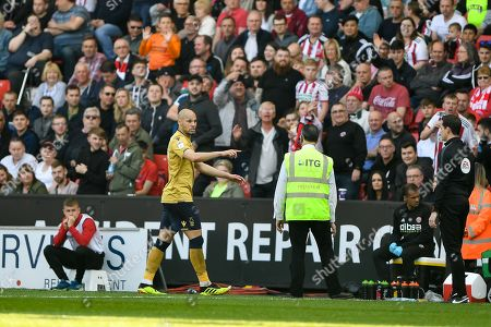 19th April 2019, Bramall Lane, Sheffield, England; Sky Bet Championship, Sheffield United vs Nottingham Forest ; Yohan Benalouane (29) of Nottingham Forest makes his way to the dressing room after being shown a red card Credit: Jon Hobley/News Images English Football League images are subject to DataCo Licence