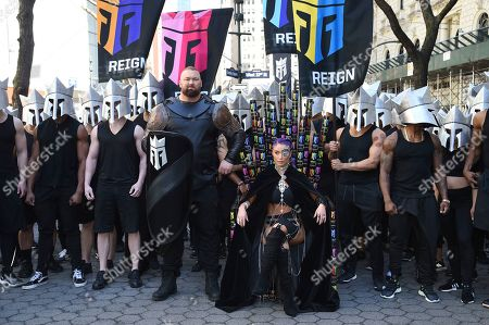 Hafthor Bj'rnsson, Natalie Eva Marie. Actor Hafthor Björnsson, center left, and former WWE wrestler Natalie Eva Marie, seated, participate in the launch of Monster Energy's Reign Total Body Fuel at Greeley Square Park, in New York