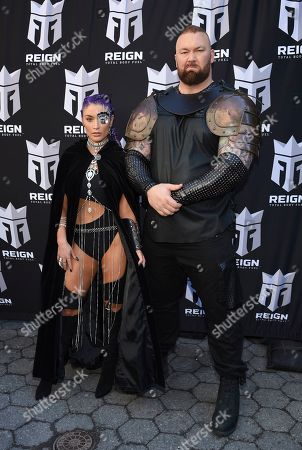 Natalie Eva Marie, Hafthor Bj'rnsson. Former WWE wrestler Natalie Eva Marie, left, and actor Hafthor Björnsson participate in the launch of Monster Energy's Reign Total Body Fuel at Greeley Square Park, in New York