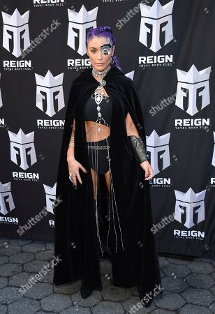 Former WWE wrestler Natalie Eva Marie participates in the launch of Monster Energy's Reign Total Body Fuel at Greeley Square Park, in New York