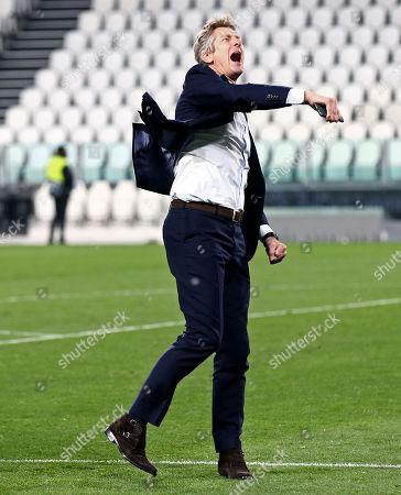 Ajax chief executive Edwin Van der Sar celebrates.