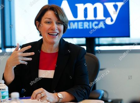 Amy Klobuchar, Andrew Gillum. Democratic presidential candidate Amy Klobuchar speaks during a roundtable discussion on health care, in Miami. Klobuchar met with local medical professionals and advocates to talk about the cost of prescription drugs access to healthcare