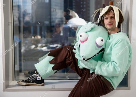 """This photo shows actor and author Matthew Gray Gubler posing for a portrait in New York wearing a costume of his title character in his children's book """"Rumple Buttercup: A Story of Bananas, Belonging and Being Yourself"""