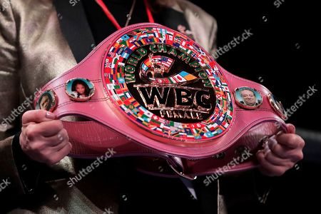 The WBC women's boxing title belt is displayed on the ring prior to the women's unification world middleweight championship boxing bout between Claressa Shields and Christina Hammer, in Atlantic City, N.J