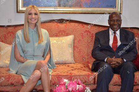 Ivorian Vice President Daniel Kablan Duncan (R) welcomes Ivanka Trump, Daughter and adviser to US President Donald J. Trump, during a welcoming ceremony in the presidential palace in Abidjan, Ivory Coast, 16 April 2019. Ivanka Trump's visit to Cote d'Ivoire after a two-day visit to Ethiopia is her first visit to Africa since the White House launched the Women's Initiative for Global Development and Prosperity in February 2019. Ivanka Trump will participate in a summit on the economic empowerment of women in Cote d'Ivoire. During her visit to Ivory Coast, she will also meet political leaders, executives and entrepreneurs.