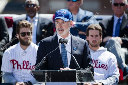 Gov. Tom Wolf speaks during a Major League Baseball news conference, on Independence Mall in Philadelphia. Baseball's 2026 All-Star Game will be played in Philadelphia to mark the 250th anniversary of the Declaration of Independence