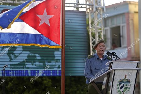 Alberto Campo, capitan of the reserve, speaks during an event to commemorate the 58th anniversary of the declaration of the socialist character of the Cuban Revolution by Fidel Castro, in Havana, Cuba, 16 April 2019.