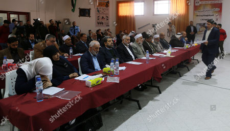 Palestinian Hamas chief in the Gaza strip Ismail Haniyeh attends a session of the members of the Palestinian Legislative Council marking the Palestinian Prisoner Day