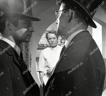 John Castle, as Number Twelve, Patrick McGoohan, as Number Six, and Colin Gordon, as Number Two