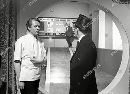 Patrick McGoohan, as Number Six, and Colin Gordon, as Number Two, with Peter Howell, as The Professor