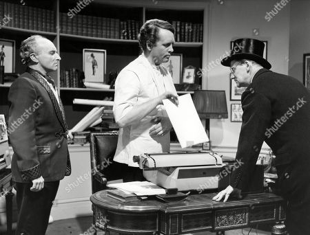 Peter Howell, as The Professor, Patrick McGoohan, as Number Six, and Colin Gordon, as Number Two