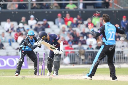 Worcestershire's Ben Cox (Capt) tries to stump Lancashires Josh Bohannon  during the Royal London 1 Day Cup match between Lancashire County Cricket Club and Worcestershire County Cricket Club at the Emirates, Old Trafford, Manchester