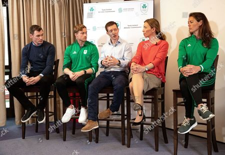 David Gillick, Arthur Lanigan-O'Keeffe, Chair of the Olympic Federation of Ireland's Athletes' Commission Shane O'Connor, Canadian Olympic Gold Medallist and Chair of the WADA Athlete Committee, Beckie Scott and Jenny Egan pictured as the Olympic Federation of Ireland announce athlete driven initiatives to support and protect clean sport in Ireland, in partnership with Sport Ireland.