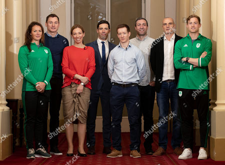 Jenny Egan, David Gillick, Canadian Olympic Gold Medallist and Chair of the WADA Athlete Committee, Beckie Scott, Paul O'Flynn, Chair of the Olympic Federation of Ireland's Athletes' Commission Shane O'Connor, Kenneth Egan, James Nolan and Arthur Lanigan-O'Keeffe pictured as the Olympic Federation of Ireland announce athlete driven initiatives to support and protect clean sport in Ireland, in partnership with Sport Ireland.