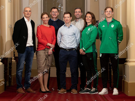 James Nolan, Canadian Olympic Gold Medallist and Chair of the WADA Athlete Committee, Beckie Scott, David Gillick, Chair of the Olympic Federation of Ireland's Athletes' Commission Shane O'Connor, Kenneth Egan, Jenny Egan and Arthur Lanigan-O'Keeffe pictured as the Olympic Federation of Ireland announce athlete driven initiatives to support and protect clean sport in Ireland, in partnership with Sport Ireland.