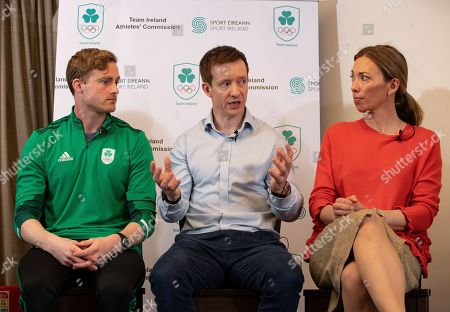 Arthur Lanigan-O'Keeffe, Chair of the Olympic Federation of Ireland's Athletes' Commission Shane O'Connor, and Canadian Olympic Gold Medallist and Chair of the WADA Athlete Committee, Beckie Scott pictured as the Olympic Federation of Ireland announce athlete driven initiatives to support and protect clean sport in Ireland, in partnership with Sport Ireland.