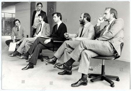 Jonathan Aitken Politician 1983 Tv-am Press Conference To Announce New Appointments (l-r) Nick Owen Dereck Stevenson Hilary Lawson Jonathan Aitken Greg Dyke And Michael Deakin...politician