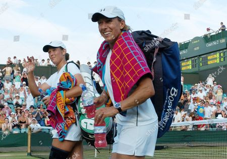 Stock Image of Liesel Huber And Martina Navratilova Are All Smiles After Their Match Against Elena Likhovtseva & Anastasia Myskina. Wimbledon Tennis Championships 2006 04.07.2006
