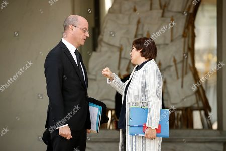 French Education Minister Jean-Michel Blanquer (L) talks with Annick Girardin (R), Minister for Overseas France, following the weekly cabinet meeting at the Elysee Palace in Paris, France, 17 April 2019. Today's cabinet meeting was all about the aftermath of the Notre Dame's fire. French President Emmanuel Macron announced its reconstruction within five years.