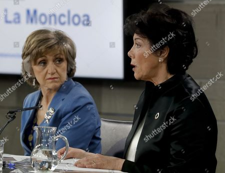 Spanish Government Spokeswoman and Education Minister, Isabel Celaa (R), and Spanish Health, Consumption and Social Welfare Minister, Maria Luisa Carcedo (L), offer a press conference after a the weekly cabinet meeting at the Moncloa Palace in Madrid, Spain, 17 April 2019.