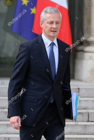 French Economy Minister Bruno Le Maire leaves.